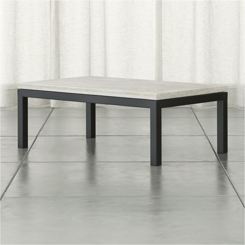 Crate And Barrel Black Marble Coffee Table: Parsons Small Rectangular Dark Steel Coffee Table With