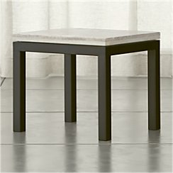Parsons Side Table with Travertine Top