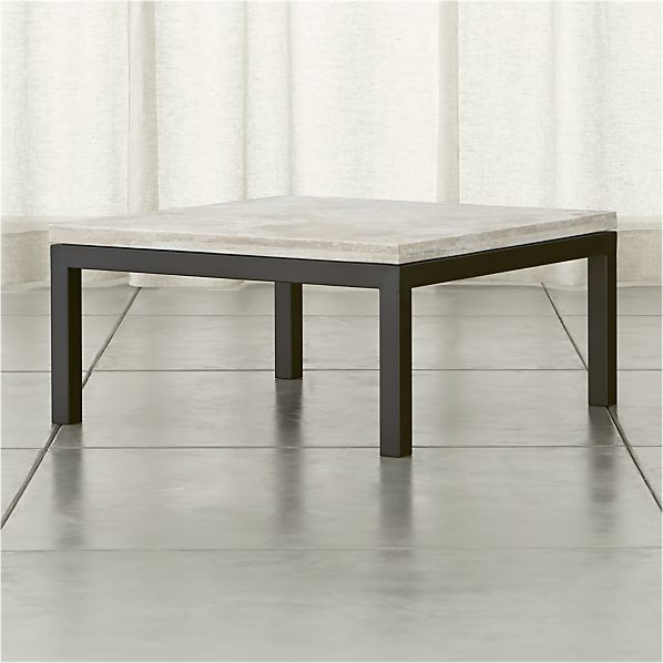 Parsons Square Dark Steel Coffee Table with Travertine Top
