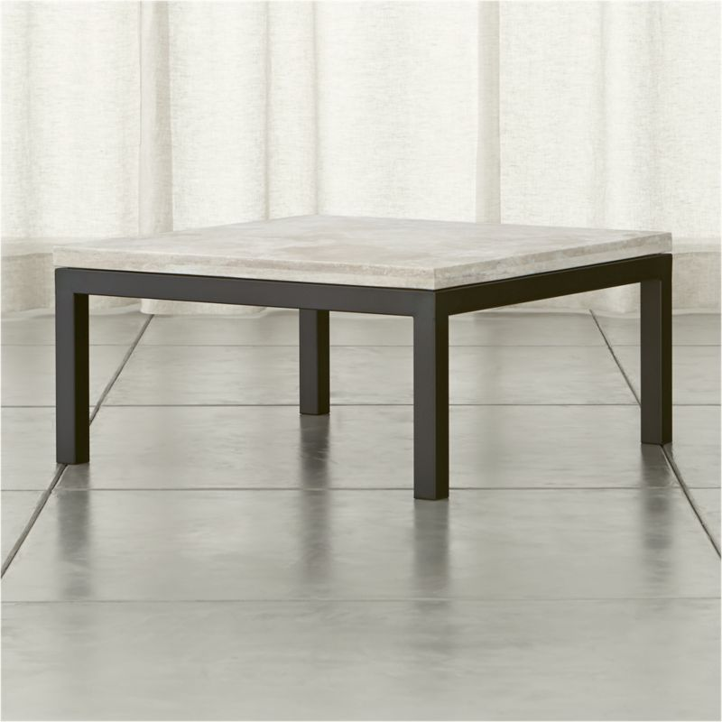 Off Crate And Barrel Crate Barrel Square Coffee Table: Parsons Travertine Top/ Dark Steel Base 36x36 Square