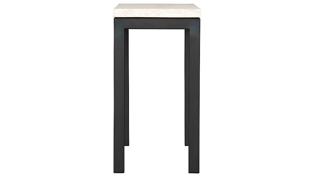 Parsons Dark Steel Console Table with Travertine Top