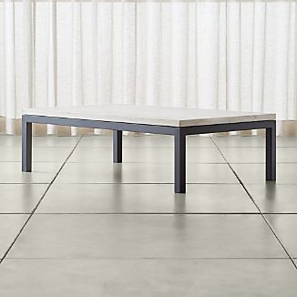Parsons Large Rectangular Dark Steel Coffee Table with Travertine Top