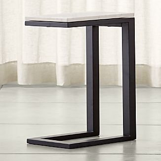 Parsons Dark Steel C Table with Travertine Top