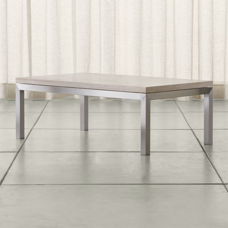 Crate And Barrel Black Marble Coffee Table: Parsons Travertine Top/ Stainless Steel Base 48x28 Small