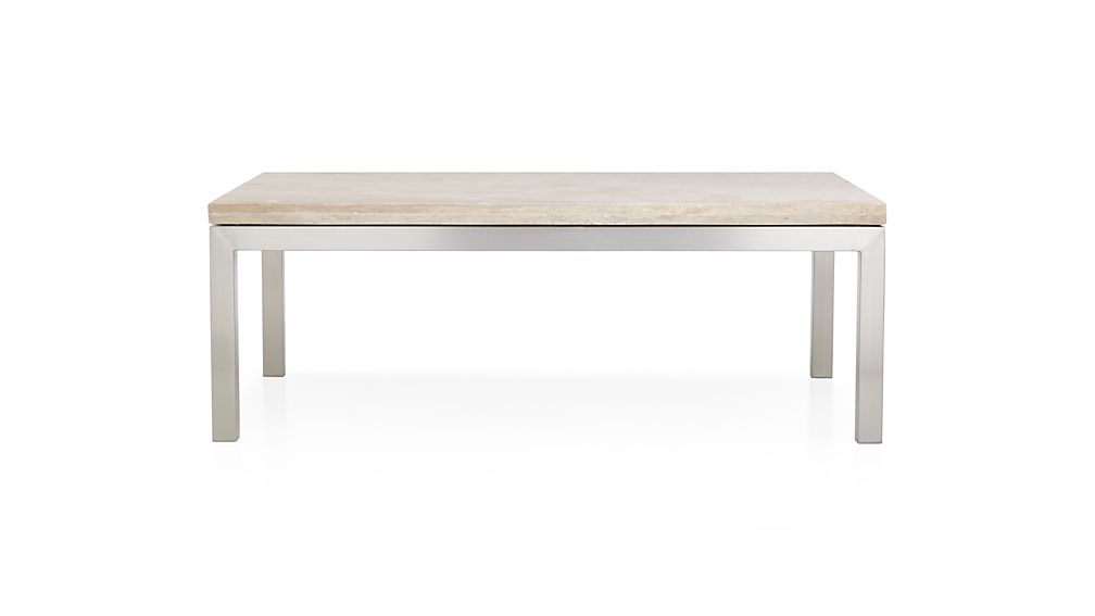Parsons Small Rectangular Stainless Steel Coffee Table With Travertine Top Crate And Barrel
