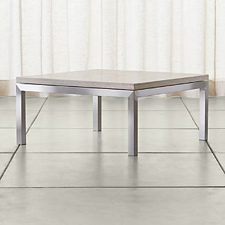 Parsons Square Stainless Steel Coffee Table with Travertine Top