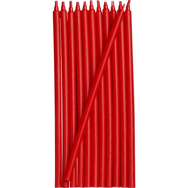 Set of 12 Red Party Candles