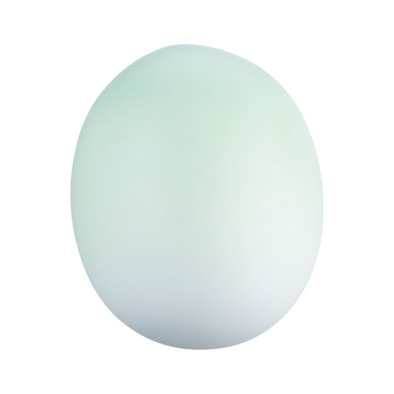 A herald of spring and new beginnings, gorgeous porcelain egg preserves the delicate beauty of the real thing, painted in graduated tones of soft green. Molded eggs are polished silky smooth and add fresh, natural beauty displayed together in a bowl with other pastel shades in the collection.<br /><br /><NEWTAG/><ul><li>Molded, polished, fired and painted porcelain</li><li>Dust with dry cloth</li><li>Made in China</li></ul>