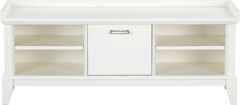 Our architectural Paterson collection is inspired by built-in cabinetry from turn-of-the-century homes. Low-profile bench with elegant tapered legs and white lacquer finish holds hallway essentials in two open cubbies with single adjustable shelves. Center storage bin drops down with a pull of the brushed-nickel handle to tidy gloves, hats and other items out of sight.<br /><br /><NEWTAG/><ul><li>Solid hardwood and low-emission engineered wood</li><li>White lacquer finish</li><li>Two adjustable shelves</li><li>Drop-down storage bin with brushed-nickel pull</li><li>Adjustable leg levelers included</li><li>Made in China</li></ul>