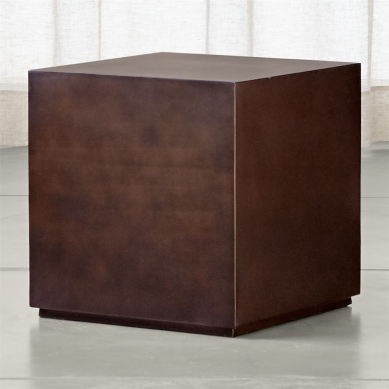 Patina Bronze Cube Table | Crate and Barrel