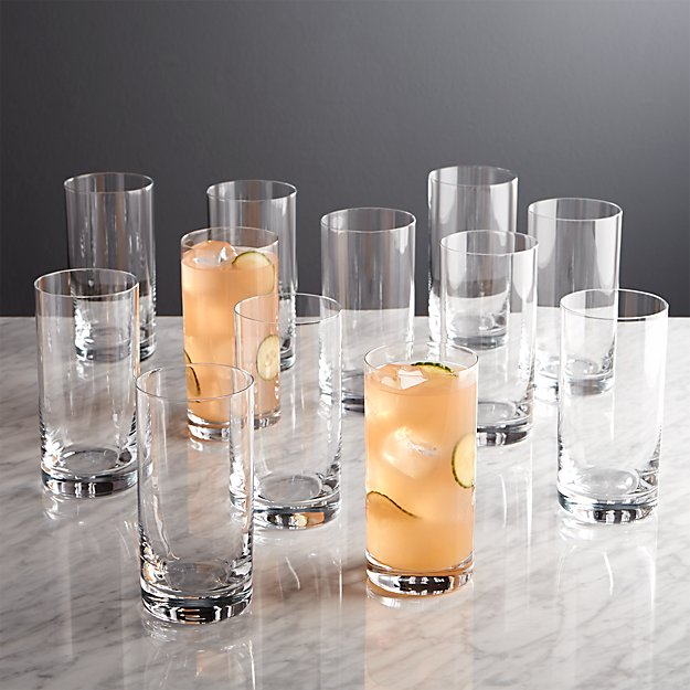 Set Of 12 Peak Highball Glasses Crate And Barrel