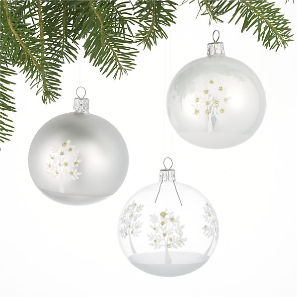 Set of 3 Pear Tree Ball Ornaments
