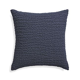"Pebble Indigo Blue 18"" Pillow with Feather-Down Insert"