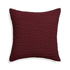 "Pebble Wine Red 18"" Pillow with Down-Alternative Insert"