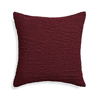 "Pebble Wine Red 18"" Pillow with Feather-Down Insert"