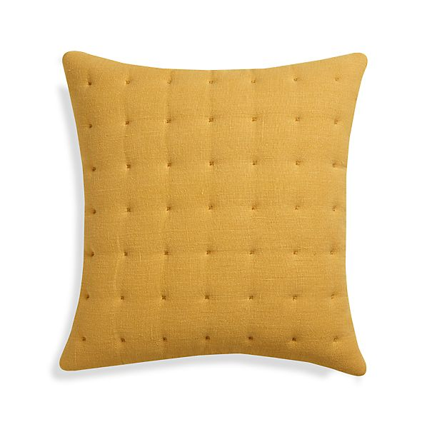 "Pelham Yellow 20"" Pillow with Down-Alternative Insert"