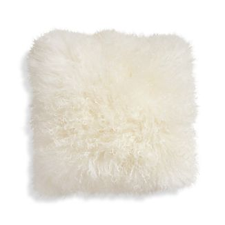 "Pelliccia Ivory 16"" Mongolian Lamb Fur Pillow with Feather-Down Insert"