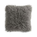 """Pelliccia Silver Grey 16"""" Mongolian Lamb Fur Pillow with Feather-Down Insert"""