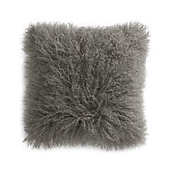 "Pelliccia Silver Grey 16"" Mongolian Lamb Fur Pillow with Feather-Down Insert"