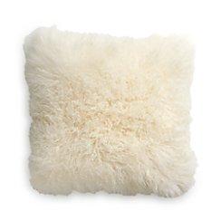 "Pelliccia Ivory 23"" Mongolian Lamb Fur Pillow with Down-Alternative Insert"