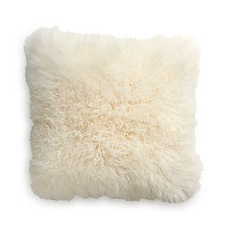 "Pelliccia Ivory 23"" Mongolian Lamb Fur Pillow with Feather-Down Insert"