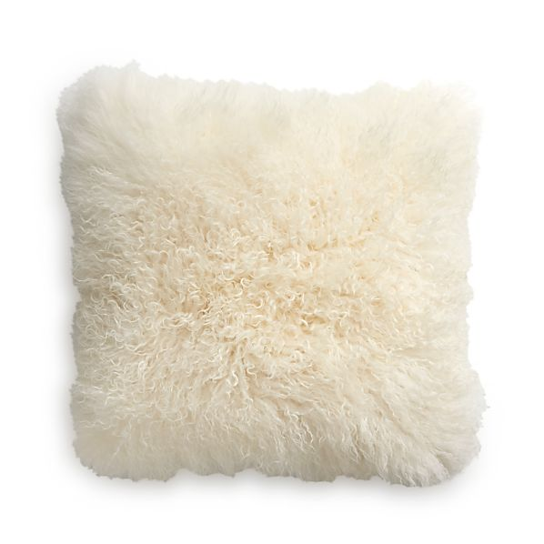 "Pelliccia 23"" Mongolian Lamb Fur Pillow with Down-Alternative Insert"