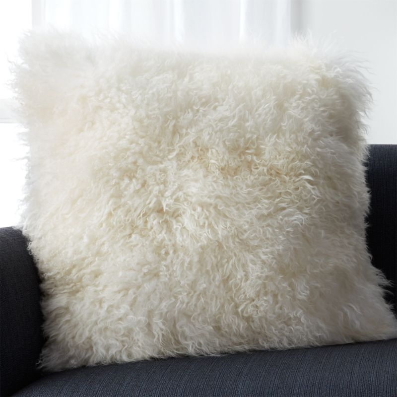 "Pelliccia Ivory 23"" Pillow with Feather-Down Insert"