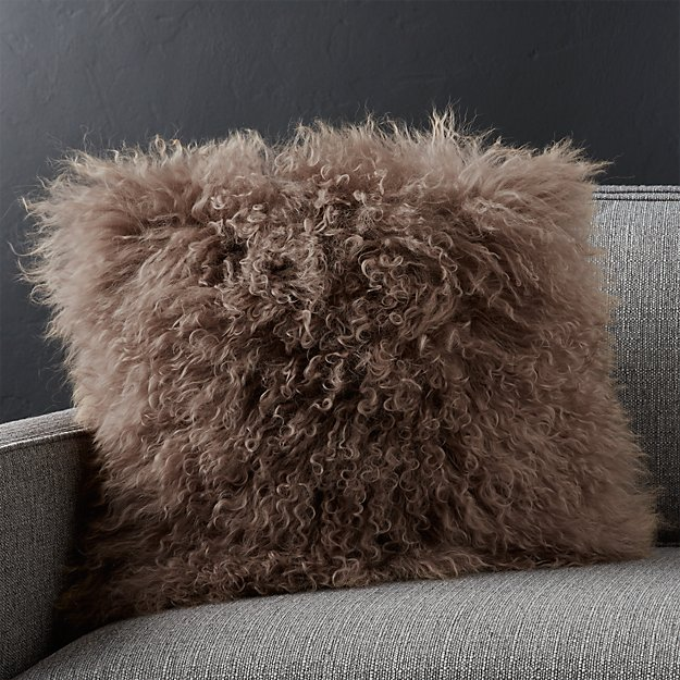 "Pelliccia Mushroom Brown 16"" Pillow with Down-Alternative Insert"