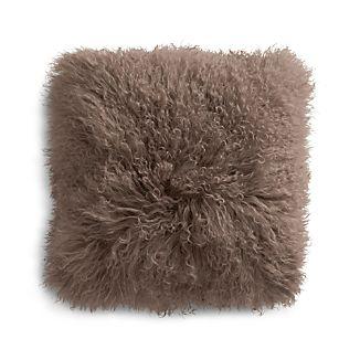 "Pelliccia Mushroom Brown 16"" Mongolian Lamb Fur Pillow"