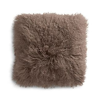 "Pelliccia Mushroom Brown 16"" Mongolian Lamb Fur Pillow with Feather-Down Insert"