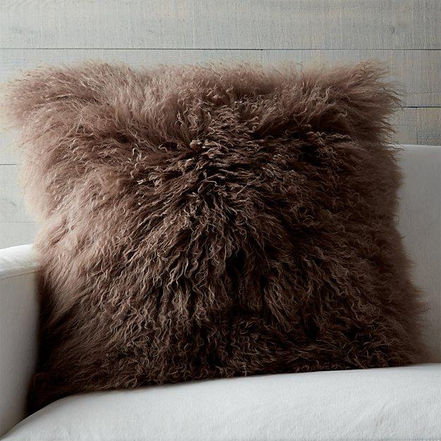 """Pelliccia Mushroom Brown 23"""" Pillow"""