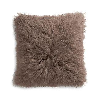 "Pelliccia Mushroom Brown 23"" Mongolian Lamb Fur Pillow"