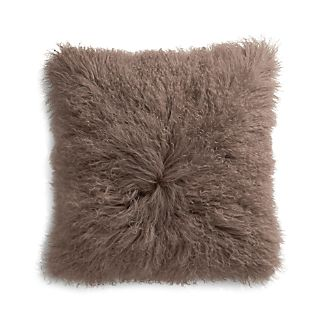 "Pelliccia Mushroom Brown 23"" Mongolian Lamb Fur Pillow with Feather-Down Insert"