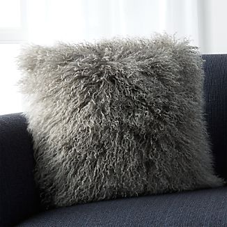 "Pelliccia Silver Grey 16"" Mongolian Lamb Fur Pillow"