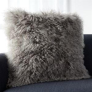 """Pelliccia Silver Grey 23"""" Pillow with Feather-Down Insert"""