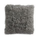 """Pelliccia Silver Grey 23"""" Mongolian Lamb Fur Pillow with Feather-Down Insert"""