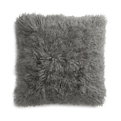 "Pelliccia Silver Grey 23"" Mongolian Lamb Fur Pillow with Feather-Down Insert"