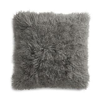 """Pelliccia Silver 23"""" Mongolian Lamb Fur Pillow"""