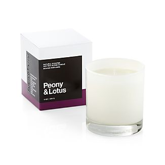 A flicker of fragrance to renew home and spirit. Our exclusive collection of handpoured, soy-blend candles brings together unique scent pairings to express your style and mood. Fresh, floral peony and ethereal lotus blossom mingle with essences of pomegranate, plum, black currant, gojiberry, lychee, violet, musk and birchwood.