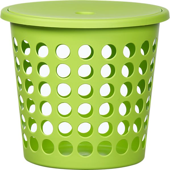 Small Green Perforated Laundry Bin with Lid