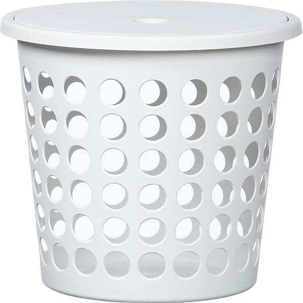 Small White Perforated Laundry Bin with Lid