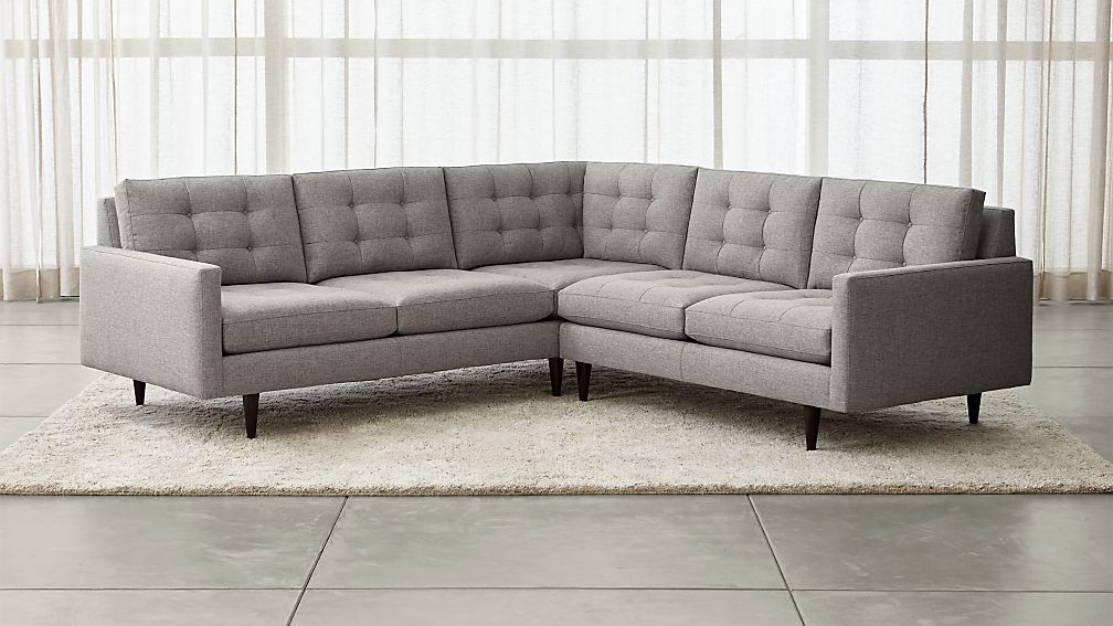 petrie 2 piece corner sectional sofa jonas felt gray crate and barrel. Black Bedroom Furniture Sets. Home Design Ideas