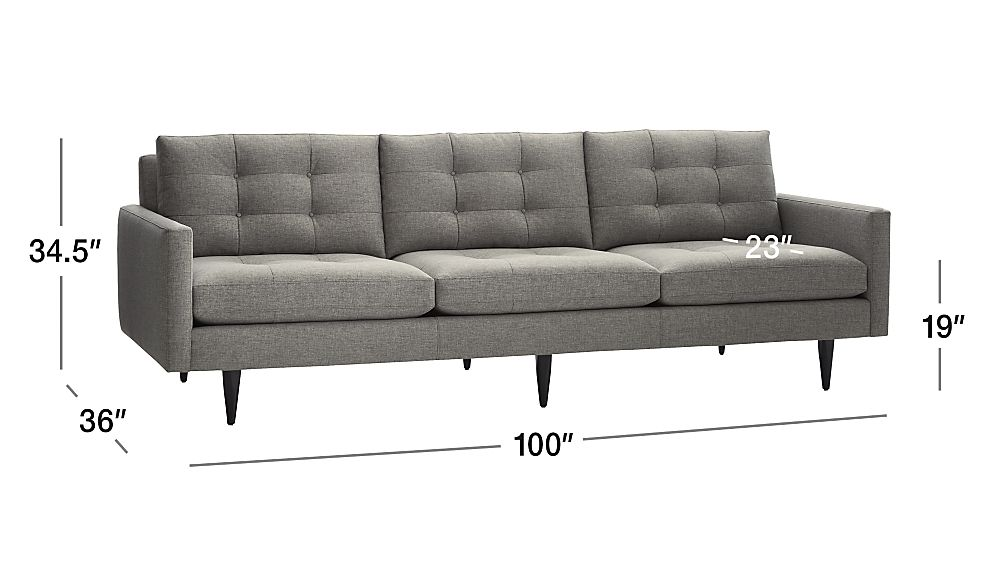 Petrie Long Grey Modern Tufted Sofa Crate And Barrel