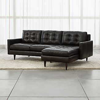 Petrie Leather 2-Piece Right Arm Chaise Sectional Sofa
