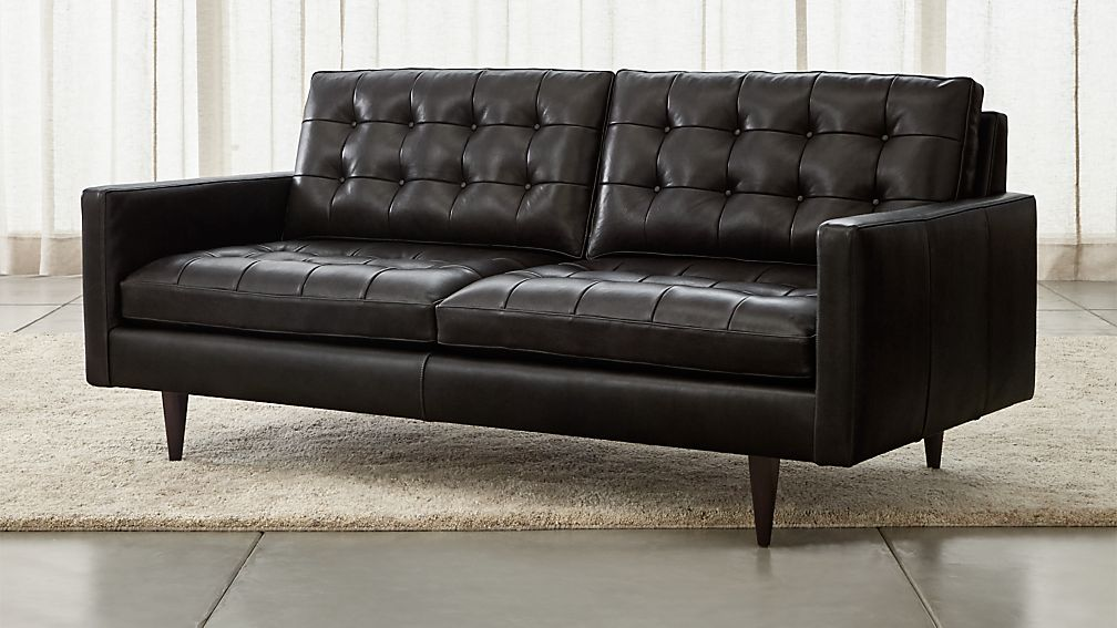 Petrie Leather Apartment Sofa Laval Carbon Crate And Barrel