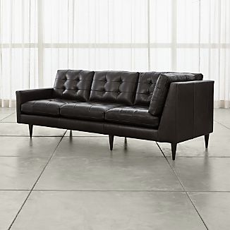 Petrie Leather Left Arm Corner Sofa