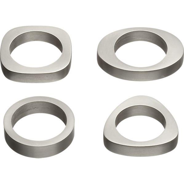 Set of 4 Pewter Shapes Napkin Rings