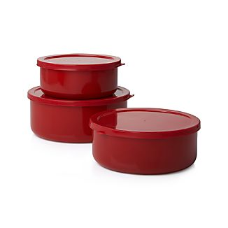 Red Enamel 6-Piece Storage Container Set