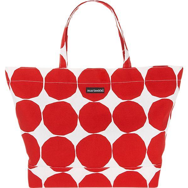 Marimekko Pienet Kivet Opaali Red and White Bag