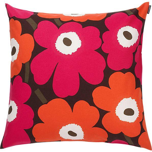 """Marimekko Pieni Unikko Brown and Orange and Pink 20"""" Pillow"""